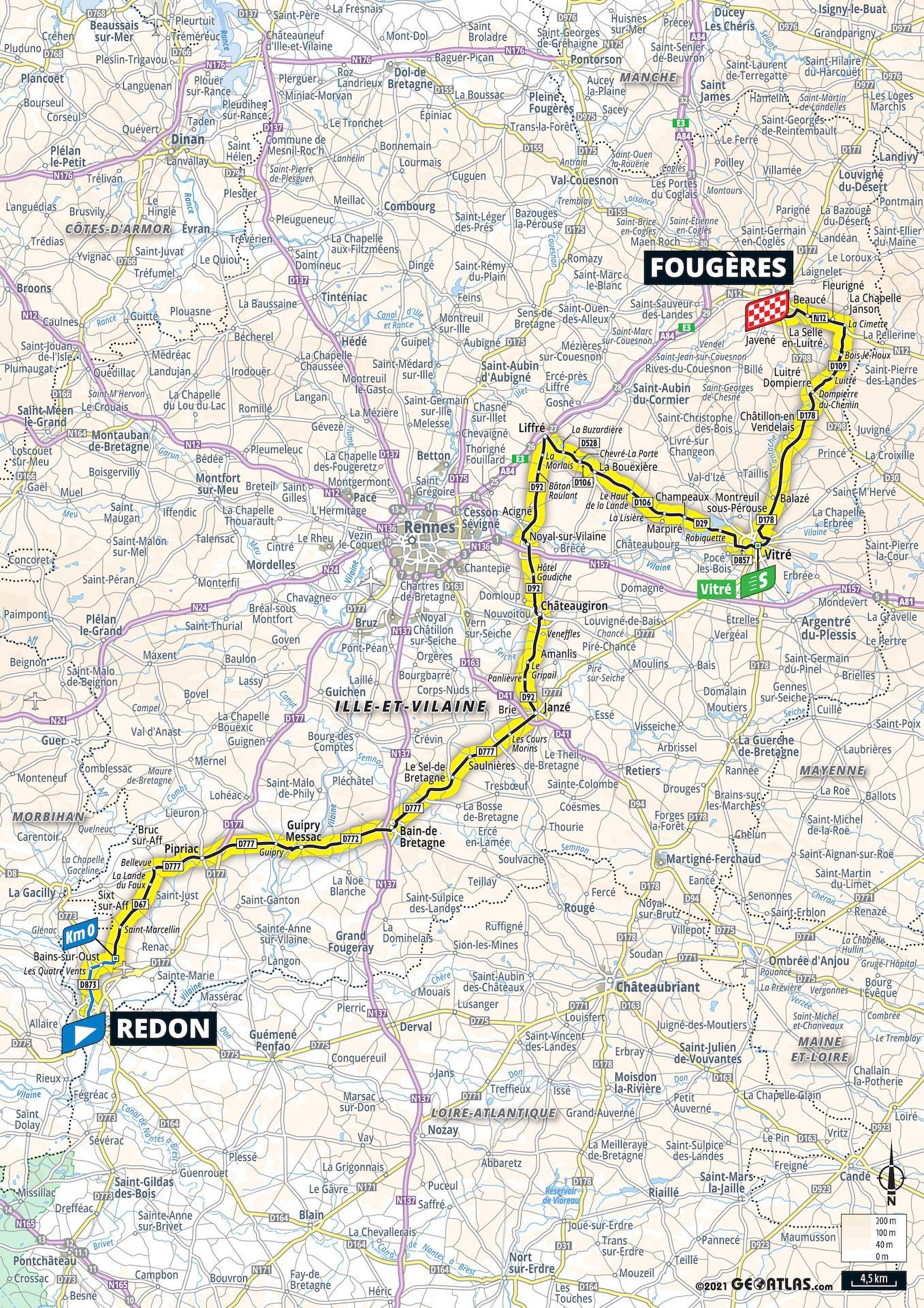 carte Étape 4 Tour de France 2021