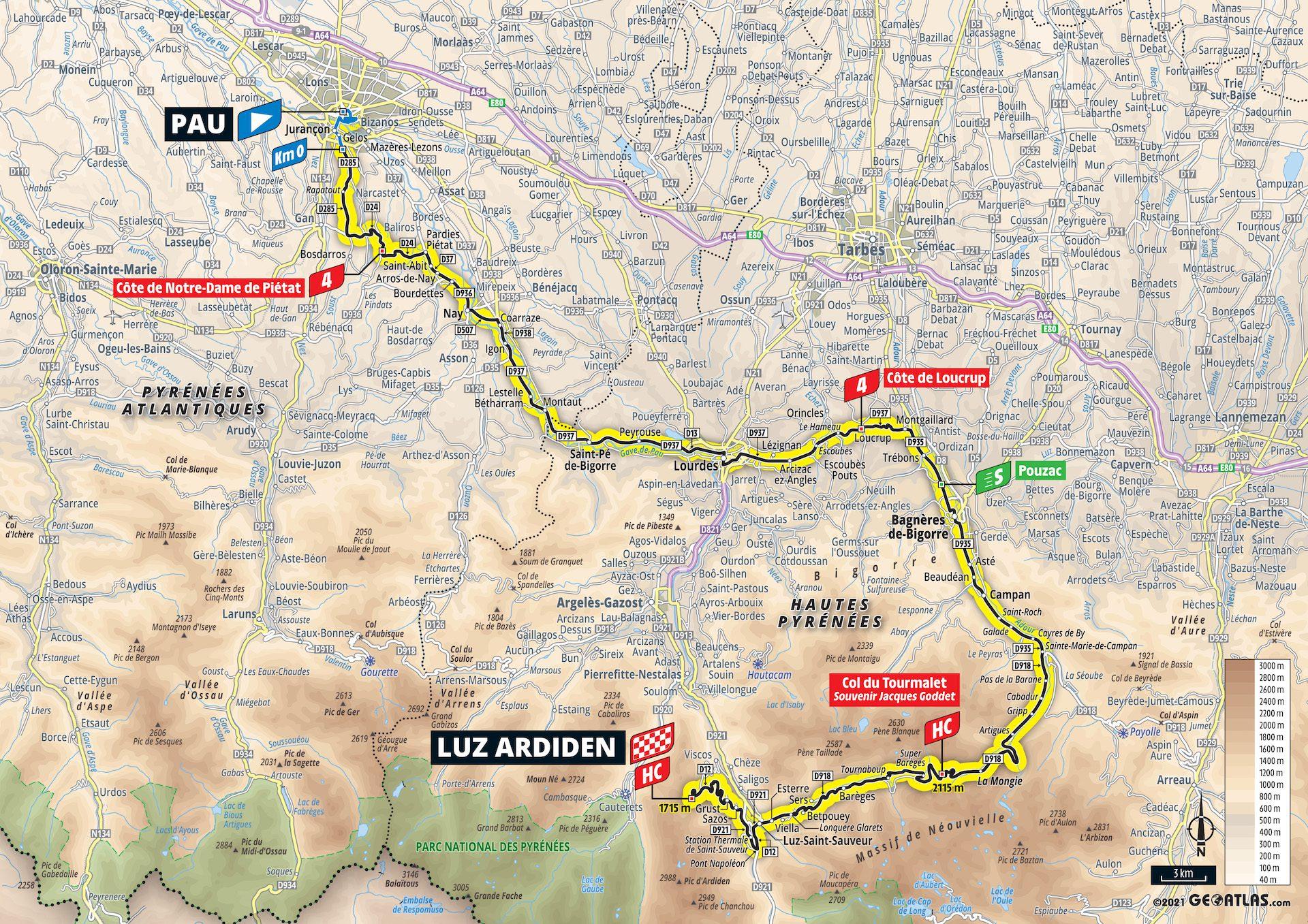 2021 Tour de France 2021 étape 18 Carte